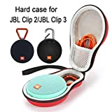 Hard Case Travel Carrying Storage Bag for JBL Clip 2/JBL Clip 3 Wireless Bluetooth Portable Speaker. Fits USB Cable - Red