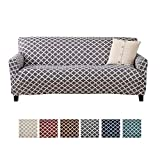 Home Fashion Designs Printed Stretch Sofa Slipcover. Strapless One Piece Stretch Couch Cover. Furniture Cover for Living Room. Brenna Collection. (Sofa, Charcoal)