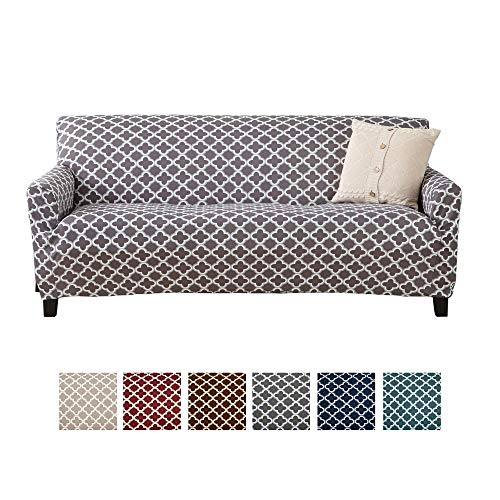 Home Fashion Designs Printed Twill Sofa Slipcover. One Piece Stretch Couch Cover. Strapless Sofa Cover for Living Room. Brenna Collection Slipcover. (Sofa, Charcoal) (Gray Couch Slipcover)