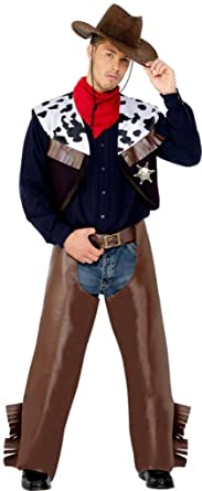 Smiffys Menu0027s Cowboy Costume with Waistcoat Chaps Scarf and Badge Multi Medium  sc 1 st  Amazon.com & Amazon.com: Smiffys Menu0027s Cowboy Costume with Waistcoat Chaps Scarf ...