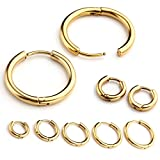 Zysta 2-10pcs Stainless Steel Golden Small Round Tube Endless Hoop Earrings, Hypoallergenic for Cartilage, Nose, Ears, Tragus