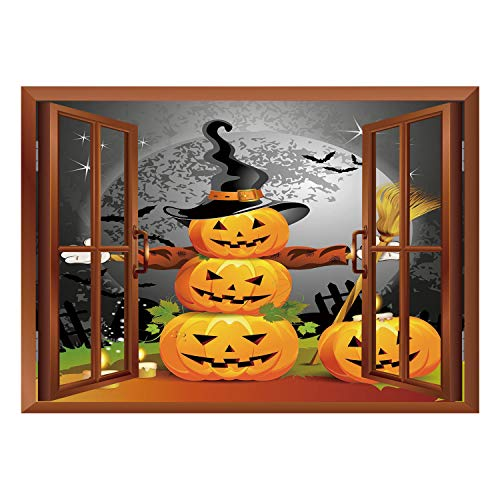 SCOCICI Wall Mural, Removable Sticker, Home Décor/Halloween,Cute Pumpkins Funny Composition Traditional Celebration Witches Hat Broomstick,Multicolor/Wall Sticker Mural ()