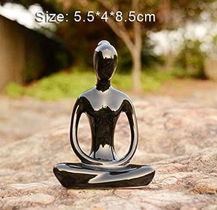 Aifeer Keramik Meditation Yoga Pose Schwarz Wei/ß 4 St/ück Set Figur Statue Sammlungen Handwerk Geschenk Haus Zen Garten Dekor