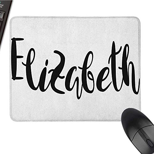 Gaming Mouse pad Elizabeth,Monochrome Inscription Style Modern Calligraphy Design Popular Girl Name, Black and White Funny Mouse pad 9.8 x11.8 ()