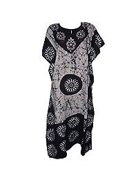 Odishabazaar Womens Cotton Caftans Nighty White Black Batik Kaftan Maxi Dress
