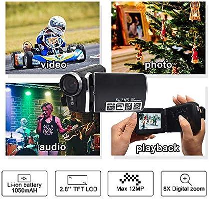 HG5250 Videocámara Digital FHD 1080P 12MP DV 270 Grados con ...