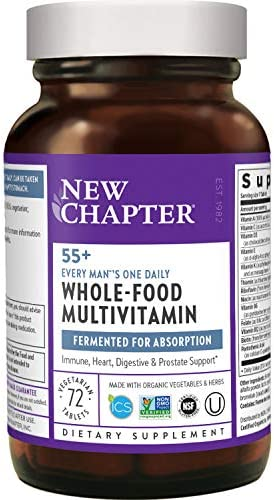 New Chapter Multivitamin for Men 50 Plus + Immune Support - Every Man's One Daily 55+ with Fermented Probiotics + Whole Foods + Astaxanthin + Organic Non-GMO Ingredients, 72 ct