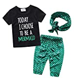 EGELEXY Kids Girls Summer Ruffle Shirts Sequin Mermaid Short Pant Outfits with Headband Size 12-24 Months (Green)
