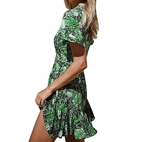 Rakkiss Women Short Dress Vintage Print Ruffled V-Neck Loose Mini Skirt Sexy Short Sleeve Summer Dress Green