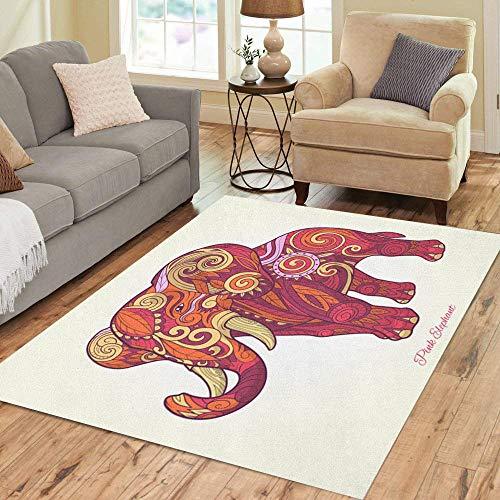 - Pinbeam Area Rug Abstract Elephant Pink Ethnic Tribal Tattoo Animal Stencil Home Decor Floor Rug 2' x 3' Carpet