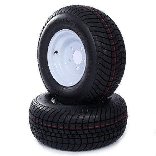 Set of 2 Tubeless 20.5×8-10 Tires & Rims on 5 Lug White Wheels LRC Bias 205/65-10 20.5/8-10 P825 6PR Trailer Tires
