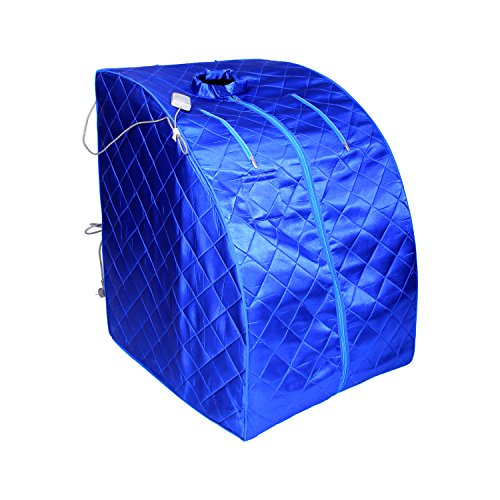 ALEKO PIN11BL Personal Folding Portable Home Infrared Sauna with Folding Chair and Foot Pad for Relaxation and Weight Loss 37 x 28 x 31 Inches Blue