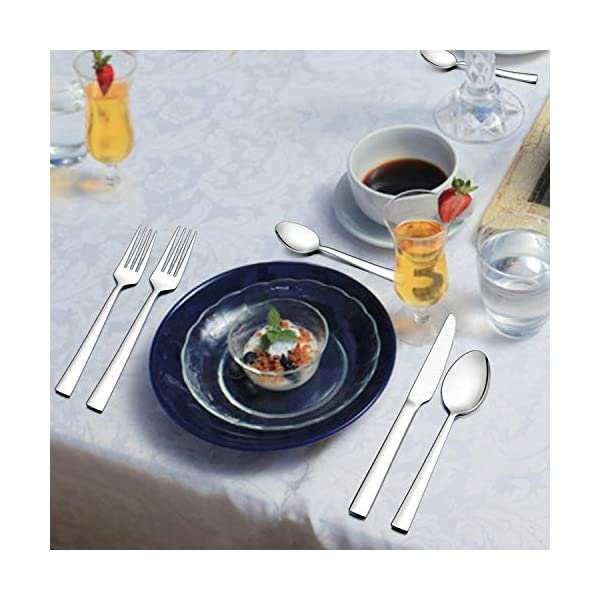 LIANYU 40-Piece Silverware Set, Stainless Steel Square Flatware Cutlery Set for 8, Eating Utensils Tableware Include… 6