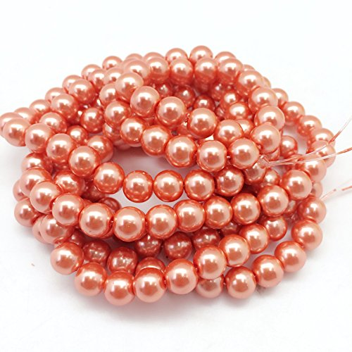 PEPPERLONELY Brand 2 Strands (About 170 PC 220Grams) Coral Glass Pearl Round Beads, 10mm(3/8 - Round Beads 10mm Coral