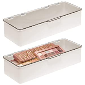 mDesign Makeup Storage Organizer Box for Bathroom Vanity, Countertops, Drawers - Holds Blenders, Eyeshadow Palettes, Lipstick, Lip Gloss, Makeup Brushes - Hinged Lid - 2 Pack - Cream/Clear