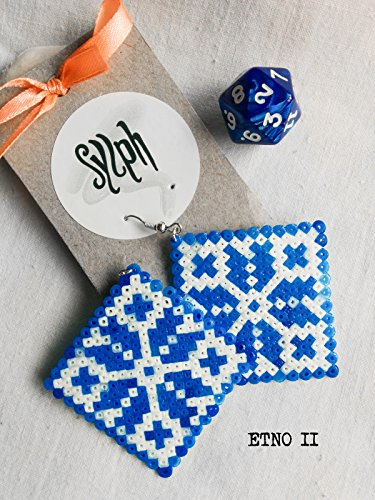 Hama pixel jewelry - Etno II (blue and white)