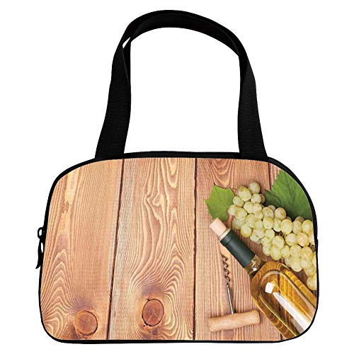 Multiple Picture Printing Small Handbag Pink,Winery Decor,Wine Bottle and Bunch of Grapes on Wooden Table Background Romantic Italian Dinner Theme,Green Brown,for Girls,Comfortable Design.6.3