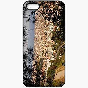 Protective Case Back Cover For iPhone 5 5S Case Cities Height Nature Barcelona Barcelona Black
