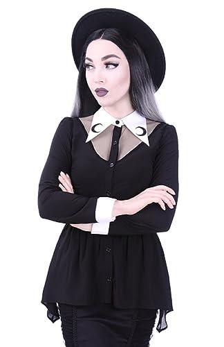 Blusa Camisa Top Gótico de Restyle Con Cuello Blanco Ocultismo Punk Luna Creciente