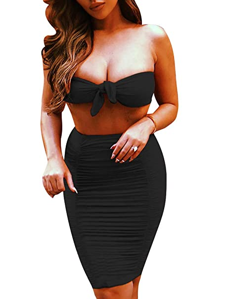 5383974f03d LAGSHIAN Women's 2 Piece Outfits Strapless Tops Sexy Bodycon Club Party Dress  Set Black