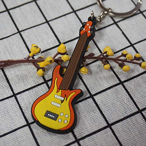 Keychian Creative Musical Instrument Giveaway Gift Classical Guitar Pendant Soft Rubber Bass Key Ring ()