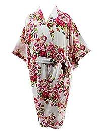 JOYTTON Girl's Cotton Floral Kimono Bathrobe Flower Girl Getting Ready Robe