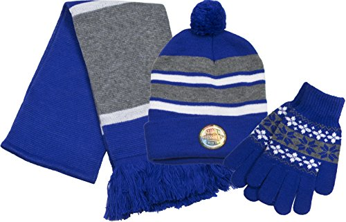 True Gear North Stadium Accessories Team Colored Cold Weather Pom Beanie, Scarf, and Stretchy Gloves Set Combo Pack - Royal Blue, Light Grey, and White (Stadium Scarf)