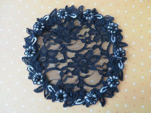 Beaded Flower Trim Accessory (Handmade Black Lace Doily Head Cover with Flower Trim and Beaded Accents (with decorative bobby)