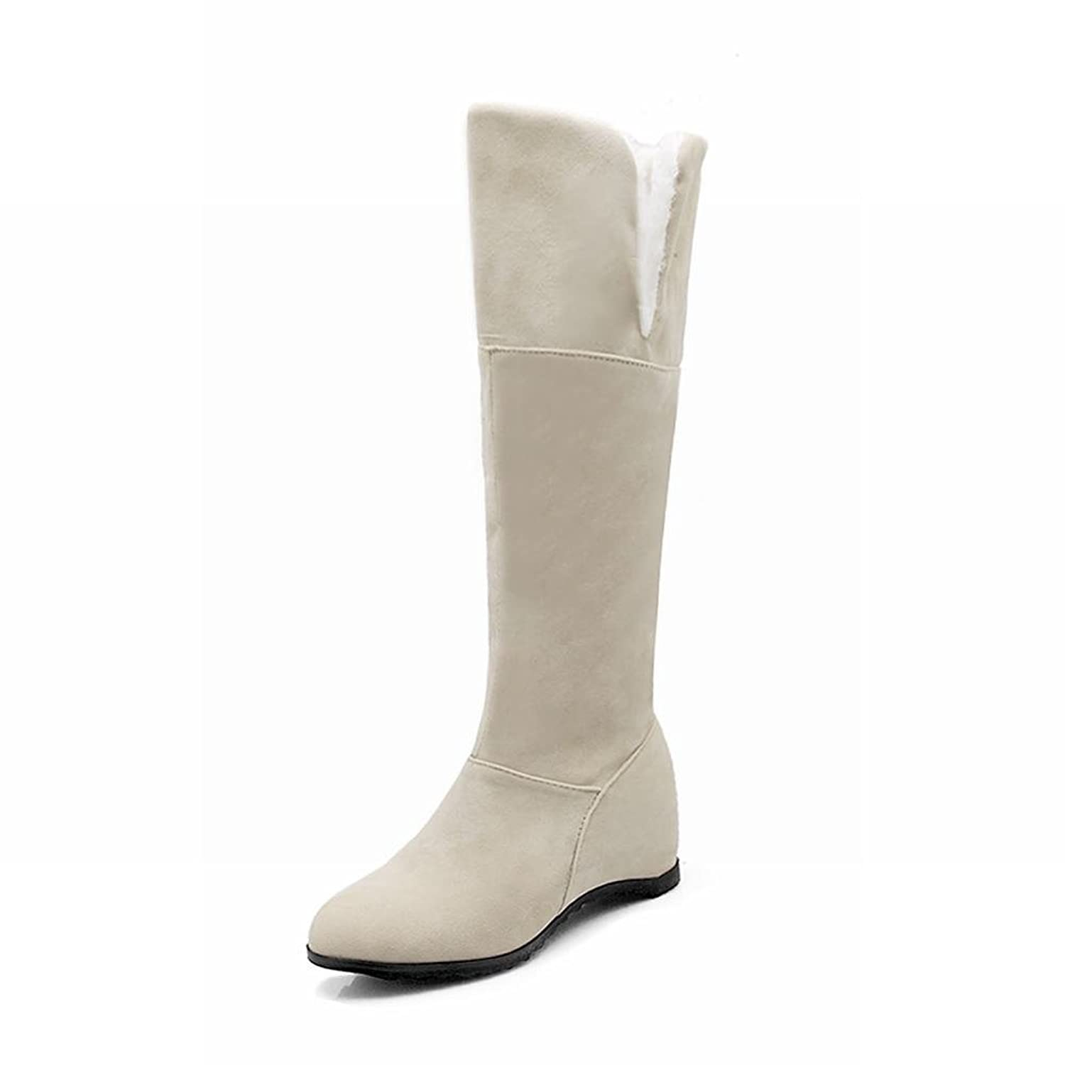 Charm Foot Women's Sweet Suede Cold Weather Winter Snow Pull-on Knee High Wedge Boots