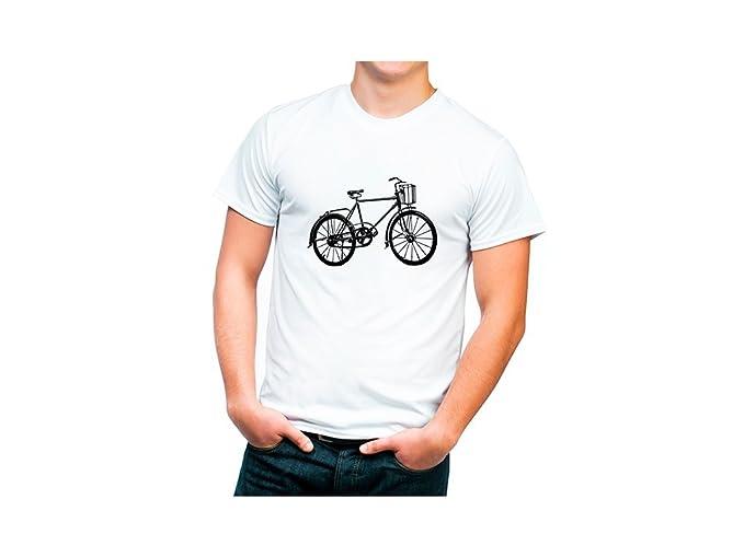 Camiseta algodón orgánico con dibujo bicicleta retro. - XXL- Extra extra grande, Blanco