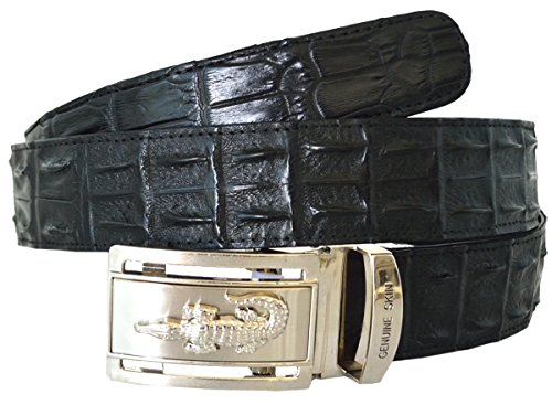Authentic Sefaro Crocodile Skin Men's Double Rows Backbone Belt (40, Black) by Authentic Sefaro Crocodile Skin