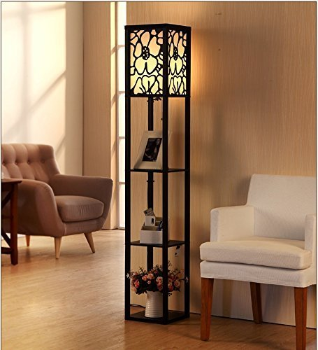 MOMO Stehlampe Wohnzimmer Schlafzimmer Arbeitszimmer Led Stehlampe  Ausgehöhlt Carving E27 Led Holz Stehlampe 26 26 160Cm