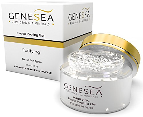 Genesea Face Exfoliating Peeling gel scrub - For vital, glowing looking skin - Deep Sea Cleansing - Facial peel Skin care Purifying Sensation, Cleans pores w/ Aloe Vera Extract for Gentle Exfoliation