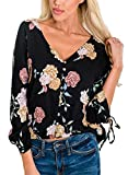 Dokotoo Womens Amazon Ladies 3 4 Sleeve Summer Button Down V Neck Flower Floral Print Loose Casual Henley T Shirts Tops and Blouses Black Large