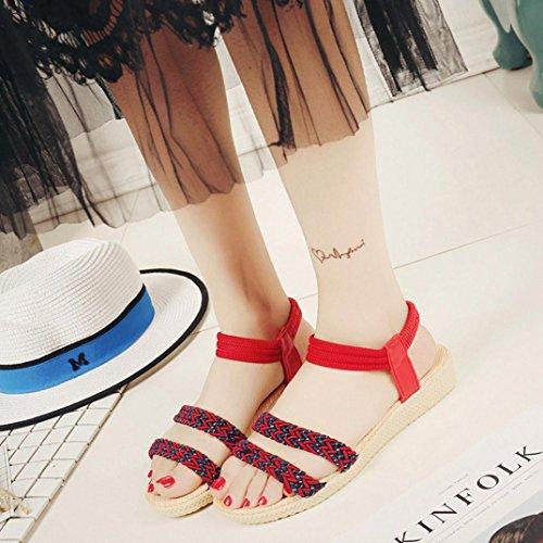 Elevin (tm) Mujer Summer Fashion Flores / Vendas / Bohemia A Rayas Peep-toe Chanclas Planas Sandalias Rojas 1