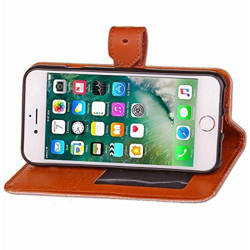 JIALUN-carcasa de telefono Para Apple iPhone 7 Funda de la caja Estilo europeo Mural en relieve Presionando Patrón de la flor Funda de cuero de la PU Funda con Soporte y Marco de fotos y ranuras para  Brown