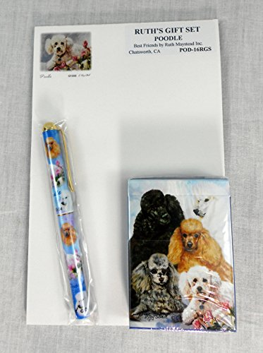 Poodle Dog Lover Gift Set by Ruth Maystead Black, Golden, White and Grey Poodle Art Note Pad, Pen and Playing Cards (Poodle Pen)