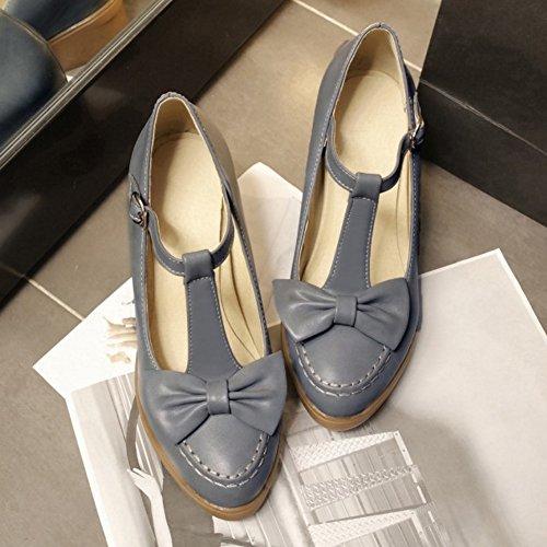 COOLCEPT Zapatos Moda Correa En T Dedo Del Pie Cerrado Bombas Zapato With Bowtie para Mujer Gris