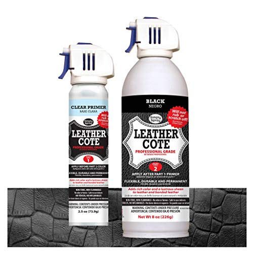 Leather Cote - Professional Grade, 2 Step Leather Restoring Kit - Works on Leather, Bonded Leather and All Vinyl - Non Toxic, Eco-Friendly Kit Includes Spray Can 8 oz and 2.5 oz can Primer (Black) (Stool Bailey)