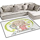 Zodiac Gemini,Carpet,Cartoon Style Little Girl with a Mirror and Reflection Twins Concept for Kids,Rug Kid Carpet,Multicolor,36''x48''
