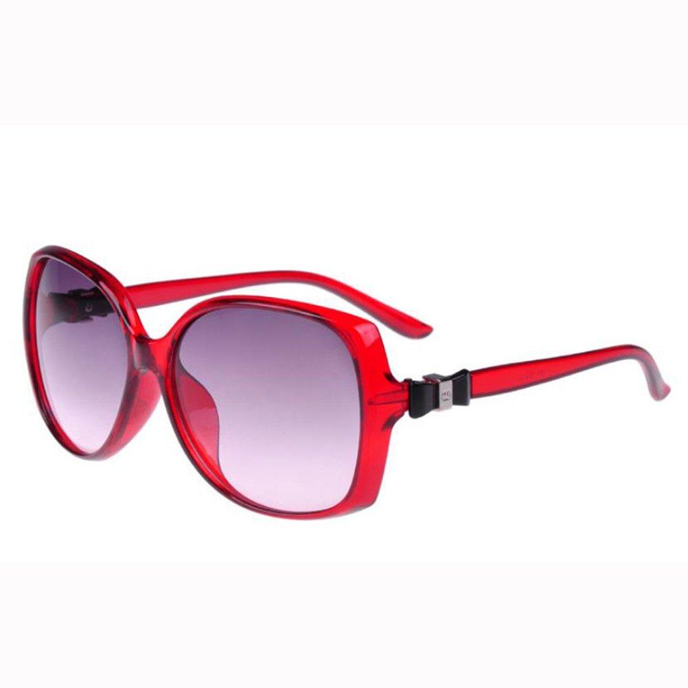 Qingsun Moda Gafas de Sol Montura con Lazo Fashion Sunglasses Oversized Protección de Ojos para Mujer Rojo