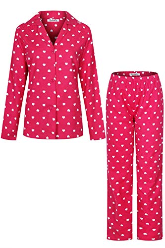 SofiePJ Women's Printed Cotton Brush Flannel Notch Collar Pajama Set with Long Pants Hot Pink XL(55971)