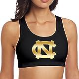 Women's North Carolina Tar Heels Gold Style Logo Racerback Yoga Sports Bra