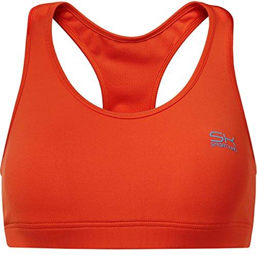 Sportkind Soutien-gorge de sport / tennis / fitness avec maintien moyen pour fille et femme en orange tailles 11 ans à XL
