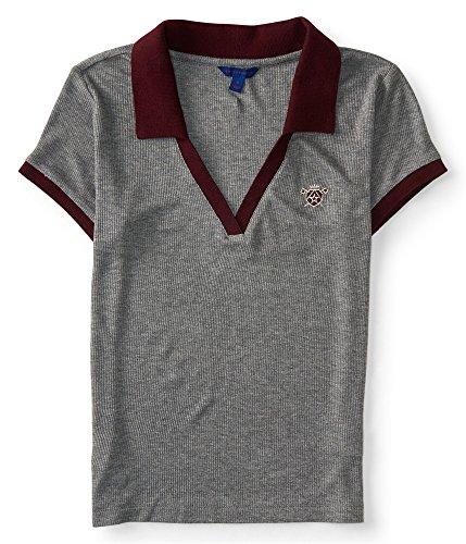 Aeropostale Womens Shield Polo Shirt, Grey, Large