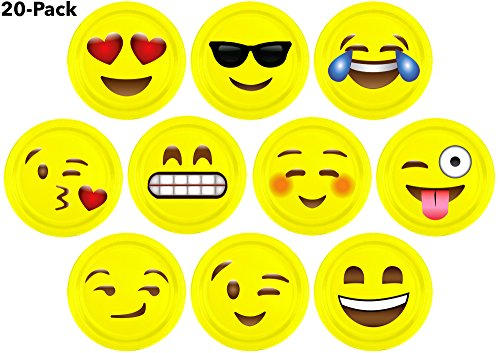 10″ Inch Emoji Paper Party Plates by LiveEco Emoji Party Supplies | 20-Pack | Includes Top 10 Most Popular Emojis | Great for Birthday Parties, Classroom Prizes, Arts & Crafts, and Games
