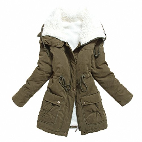 mewow Women's Winter Mid Length Thick Warm Faux Lamb Wool Lined Jacket Coat (L, ArmyGreen)