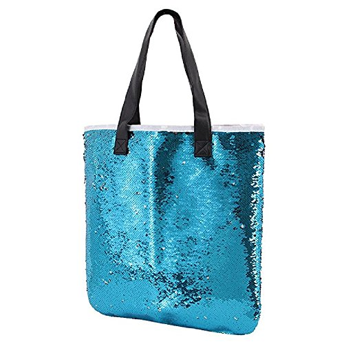 Orfila Fashion Two Tone Reversible Sequin Tote Bag PU Leather Handbag Glitter Paillette Shoulder Bag for Women, Blue