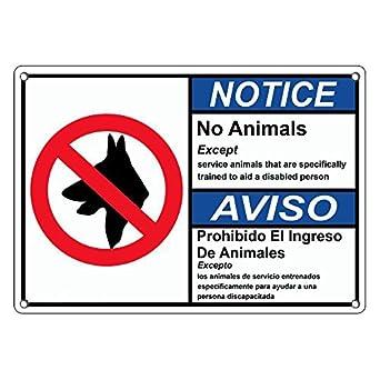 Amazon.com: De plástico resistente ANSI aviso no animales ...