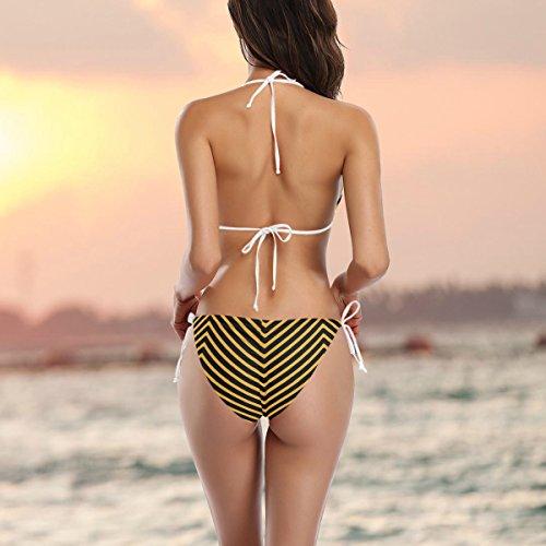 COOSUN Halloween-Streifen-Muster-Bikini-Badeanzug-Tie Side Gepolsterte Bikini-Badebekleidung zwei Stücke Zu XS Mehrfarbig rfB0tF4J